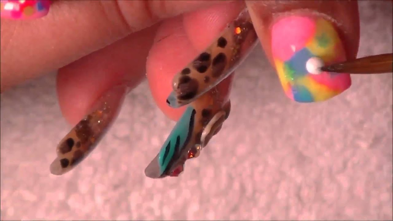 My baby girl b-day acrylic nails - YouTube