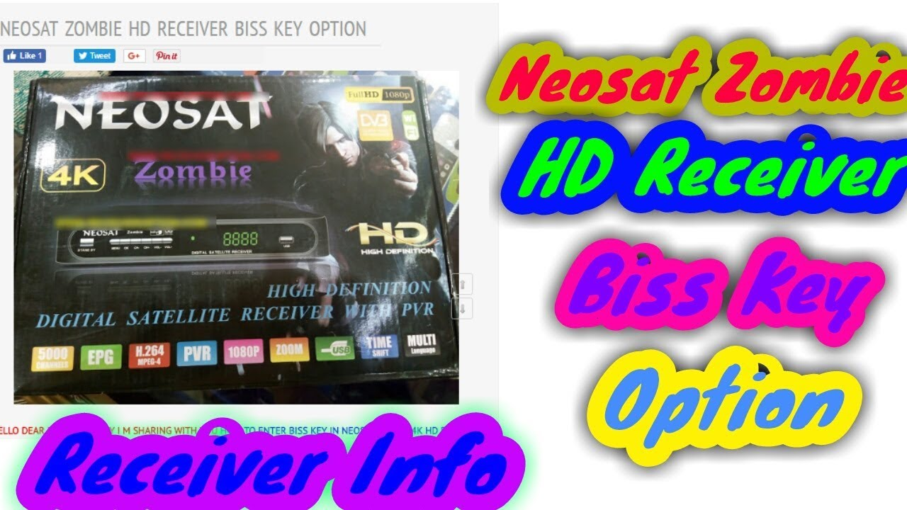 NEOSAT ZOMBIE HD RECEIVER BISS KEY OPTION
