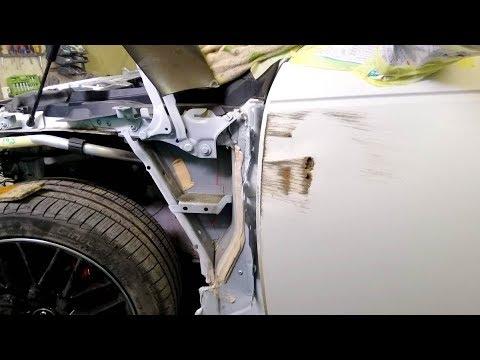 Audi A4.  Рихтовка рваной двери.    ФИНИШ!