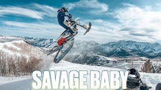 IF A DIRT BIKE AND A SNOWMOBILE HAD A SAVAGE BABY | WHAT IS SNOW BIKING | RIDING A DIRT BIKE IN SNOW