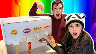 WE MADE A GIANT CANDY DISPENSER!! - VENDING MACHINE DIY!