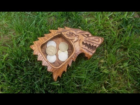 I carved Stark sigil coin tray from firewood