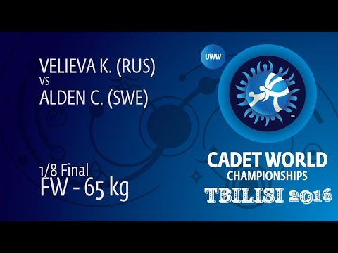 1/8 FW - 65 kg: K. VELIEVA (RUS) df. C. ALDEN (SWE) by FALL, 4-0