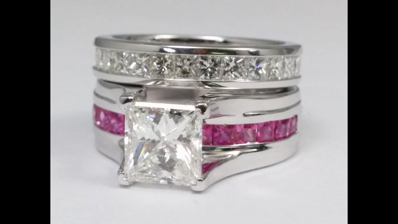 Princess Cut Diamond Bridge Engagement Ring Setting With Pink Sapphire And  Diamond Eternity Band