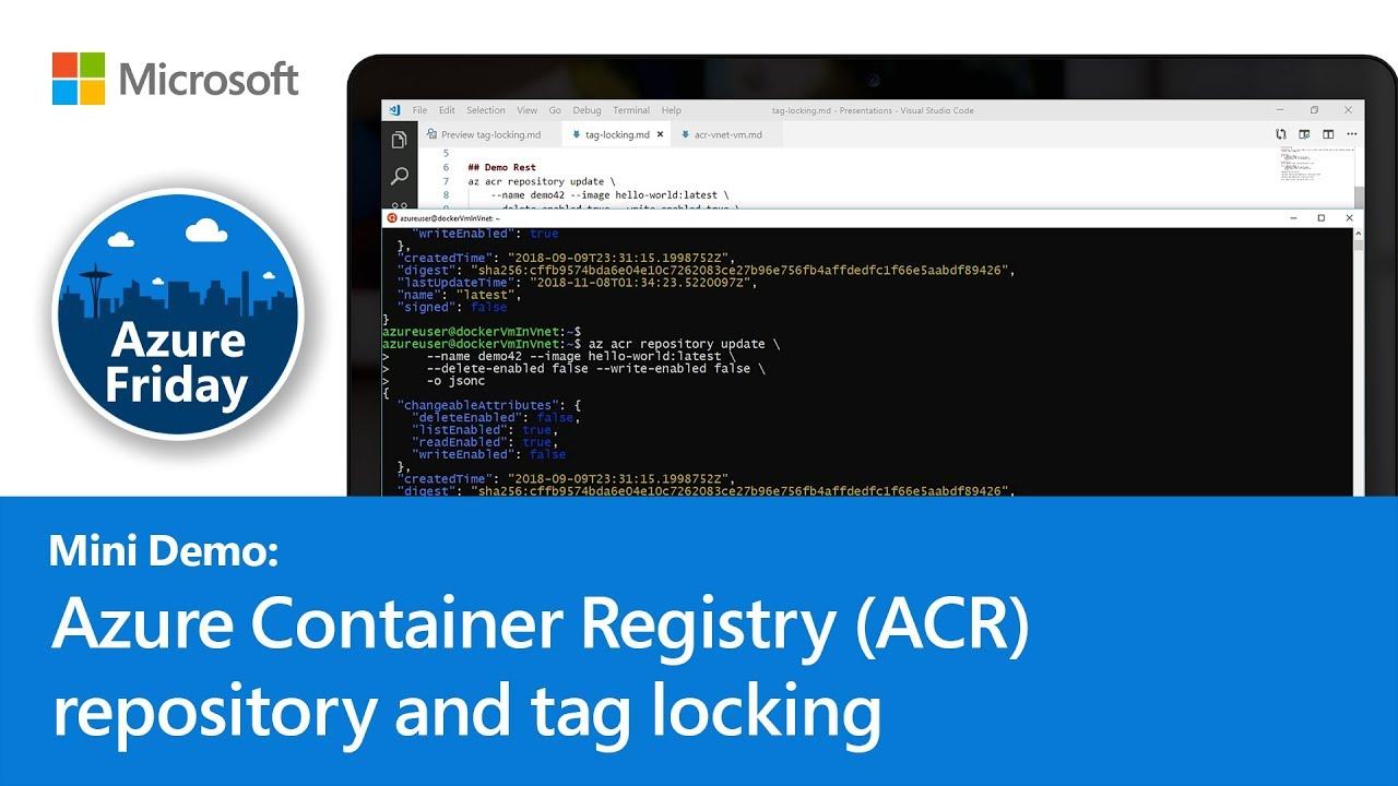 Azure Container Registry (ACR) repository and tag locking