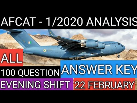 Afcat Analysis 1/2020 Evening shift !!All 100 Questions !!Answer key !!AFCAT REVIEW