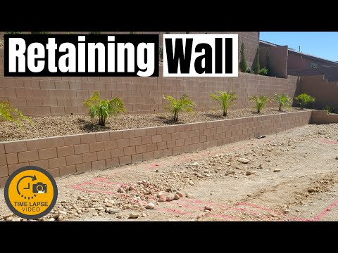 TIMELAPSE - RETAINING WALL BUILD - CINDER BLOCK WALL - HOW TO