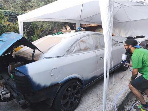 Preparando paragolpes con masilla y aplicando imprimación   Cambio color Opel Astra G Coupé   #3