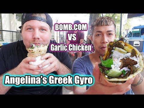 Greek Gyro MUKBANG | Lamb vs Chicken | Mediterranean Food Greek Cuisine Angelina's Greek Gyros