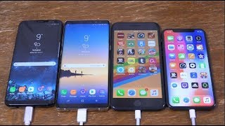 iPhone X vs Samsung Galaxy S8+ vs Note 8 vs iPhone 8+ - Battery Drain Test!