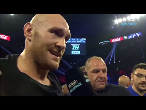 'We're going to hunt down Deontay Wilder!' Tyson Fury in-ring interview after Tom Schwarz win