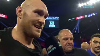 """""""We're going to hunt down Deontay Wilder!"""" Tyson Fury in-ring interview after Tom Schwarz win"""