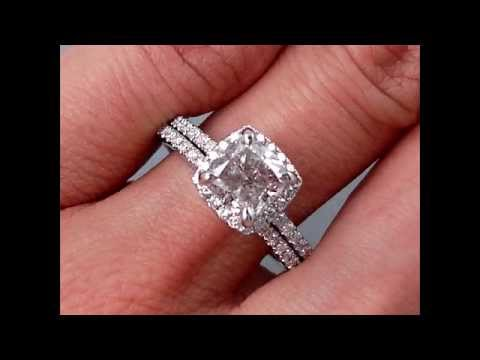 Cushion Cut Engagement Rings With Wedding Band
