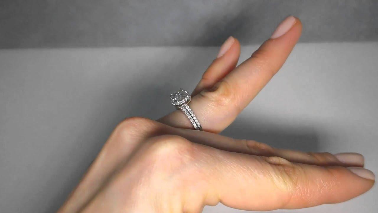 1 85 ctw Cushion Cut Diamond Engagement Ring and Wedding Band Set