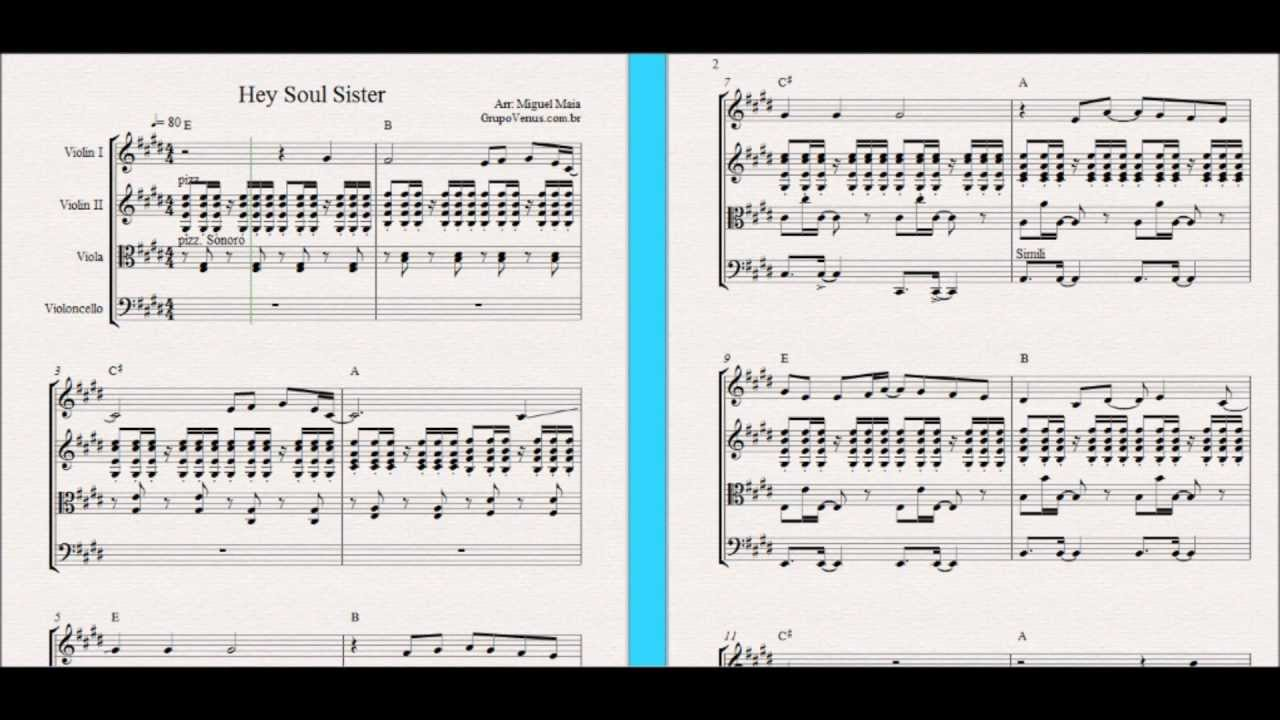 Hey Soul Sister - Free Sheet Music for Violin, String Quartet and Piano Chords - YouTube