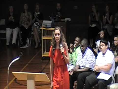 Leighton Hamilton  singing at her 8th grade graduationEmotional ending