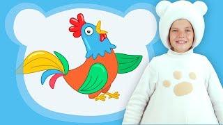 Три Медведя - ПЕТУШОК - Песенки для детей малышей животные на ферме - мультфильм