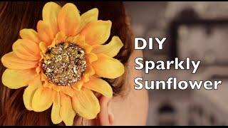 diy hair clip   sunflower w sparkly golden center
