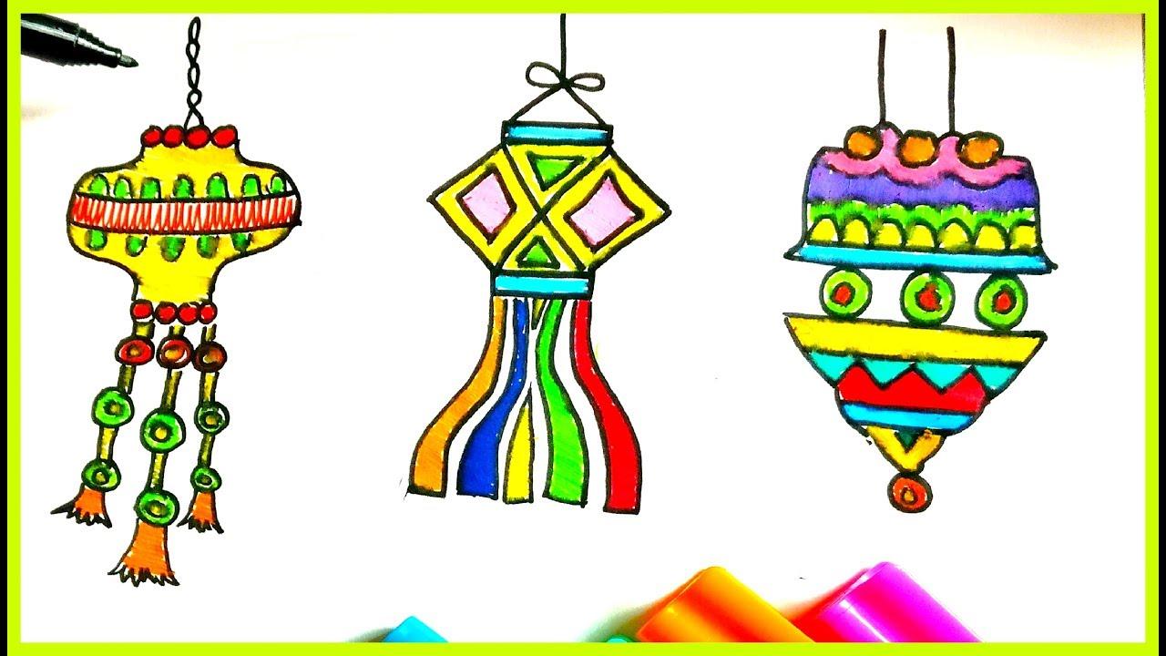 Draw Diwali Lantern/ Diwali Kandil ☆ Diwali drawing for kids ... for Diwali Lantern Drawing  45jwn
