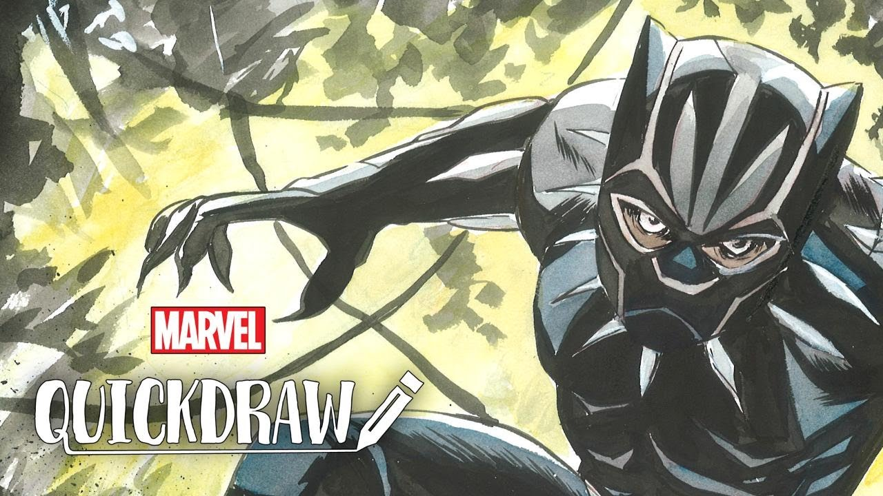 Artist Sanford Greene draws the Black Panther – Marvel Quickdraw ... 0382ab38afbd