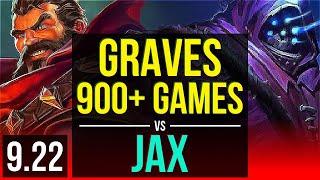 GRAVES vs JAX (TOP) | 4 early solo kills, 1.4M mastery points, 900+ games | TR Grandmaster | v9.22
