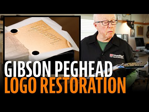 Restoring a Gibson peghead logo with a frisket