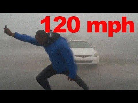 CRAZY REPORTER IN 120 mph WIND (HURRICANE IRMA)