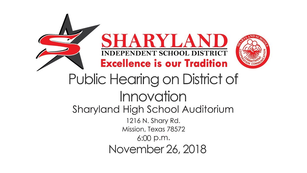 Sharyland ISD District of Innovation Proposed Plan 2019-2024