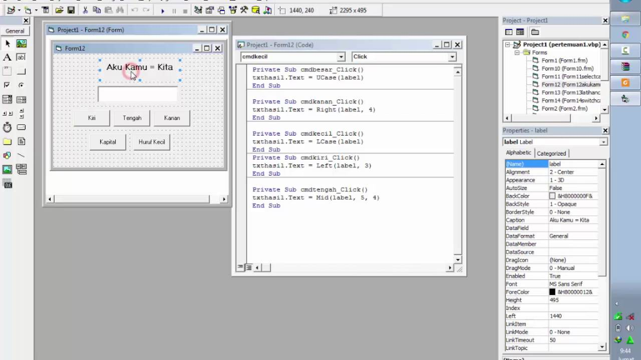 Jawaban Latihan Soal 5 Pemrograman Visual 1 Bsi Semester Iii Youtube