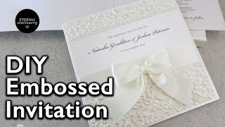 Faux deckled edge diy wedding invitation with metallic gold leaf how to make a romantic embossed wedding invit solutioingenieria Choice Image