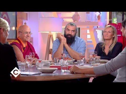Matthieu Ricard, Sébastien Chabal et Estelle Lefébure au dîner - C à Vous - 11/10/2017