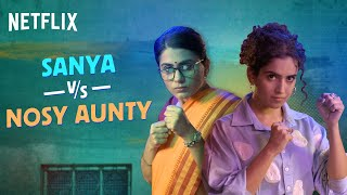 Sanya Malhotra's Savage Replies To Desi Aunty | Prashasti Singh | Pagglait | Netflix India