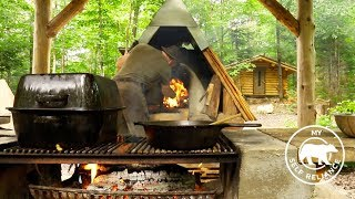 Build a Log Cabin Porch | Bear Lasagna in the Off Grid Forest Kitchen