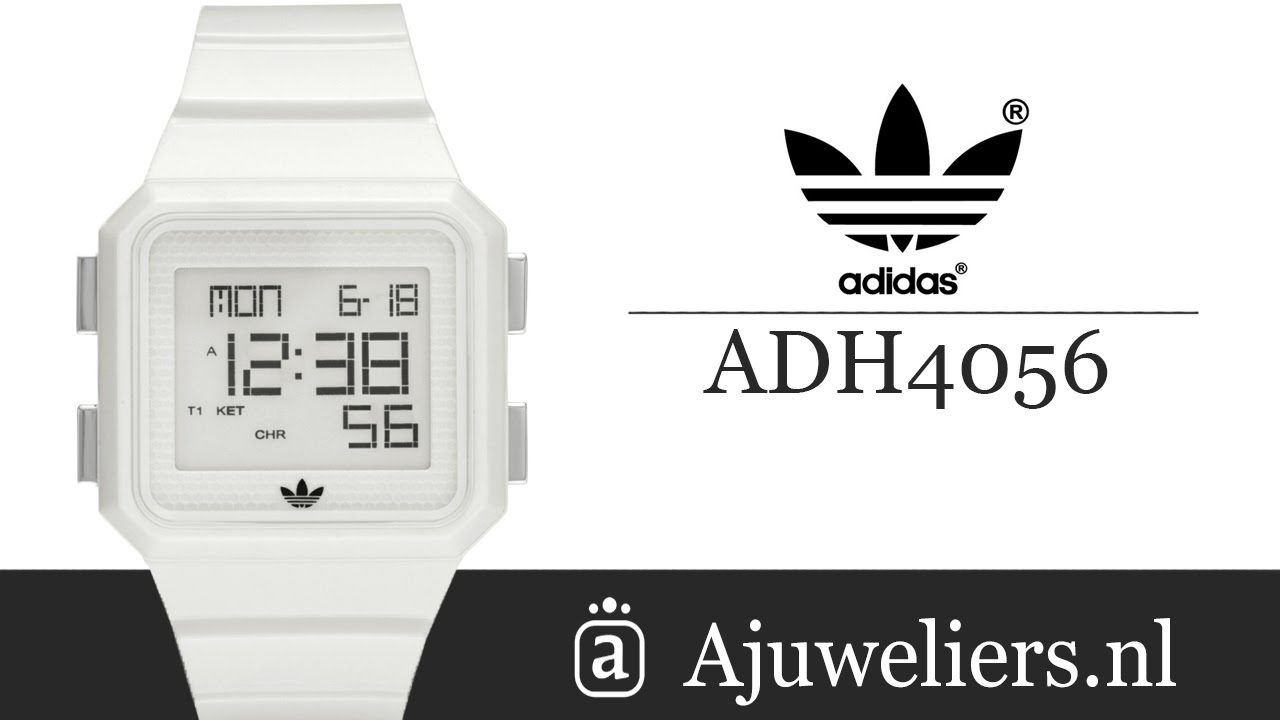 Europa cerca Destreza  Adidas ADH4056 Digitaal horloge Wit - Ajuweliers.nl - YouTube