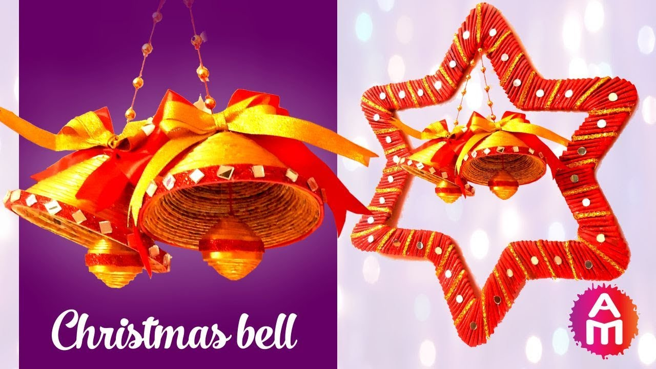 DIY Christmas Bells from Newspaper  Christmas Bell Decoration