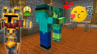 SPY ON MARK FRIENDLY ZOMBIE AND MARIE KISSING INSIDE THE ZOMBIE HOUSE DON39T SCARE THEM Minecraft