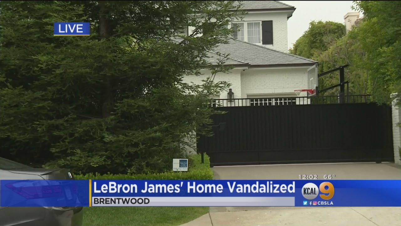 9cb7f1e18 LeBron James  Brentwood Home Vandalized With Racial Slur. CBS Los Angeles