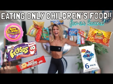 EATING ONLY CHILDHOOD FOOD FOR 24 HOURS | 90's FOOD CHALLENGE!!