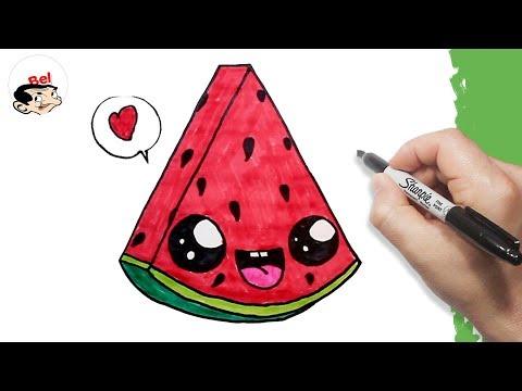 تعليم الرسم للاطفال كيف ترسم بطيخ احمر Drawing A Cute