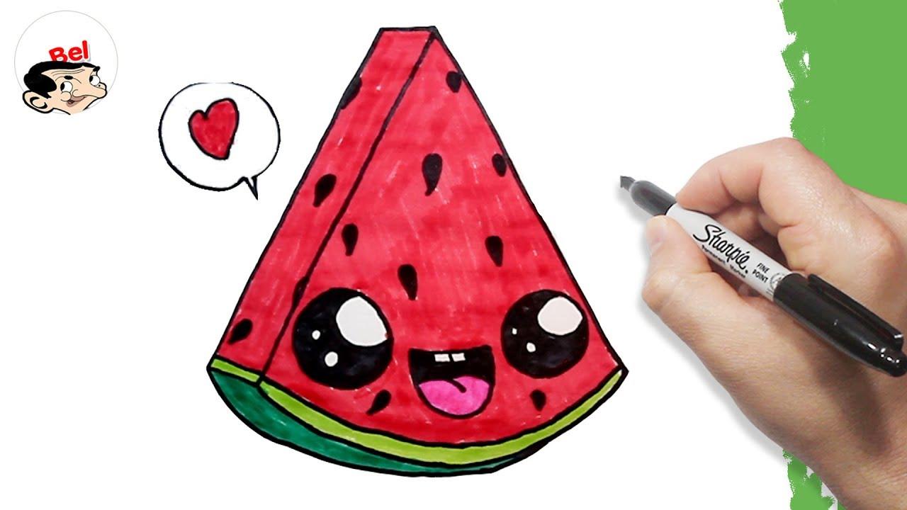 تعليم الرسم للاطفال كيف ترسم بطيخ احمر Drawing A Cute Watermelon Easily Youtube