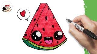 تعليم الرسم للاطفال | كيف ترسم بطيخ احمر |  Drawing a cute  watermelon easily