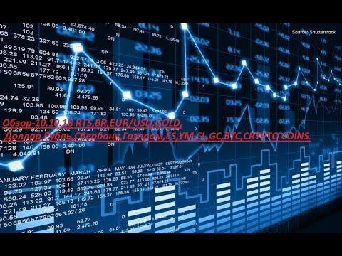 Обзор-10.10.18 RTS,BR,EUR/USD,GOLD, Доллар Рубль,Сбербанк,Газпром,ES,YM,CL,GC,BTC,CRYPTO COINS