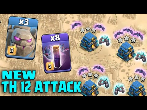 3 Golem + 8 Bat Spell + 8 Witch + 15 Bowler :: NEW TH12 WAR 3 STAR ATTACK STRATEGY 2019 (Updated)