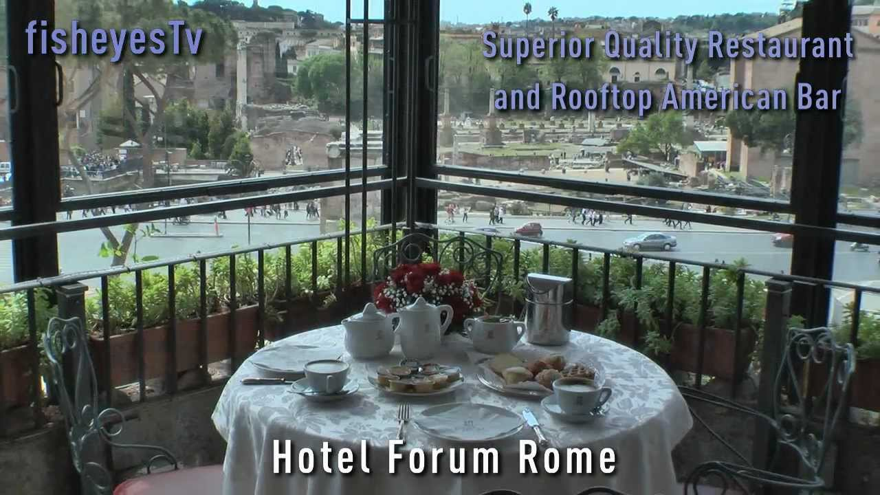 Beautiful Restaurant Roof Garden Hotel Forum Rome   YouTube