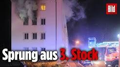Brand in Berlin – Mieter springt aus brennender Wohnung!