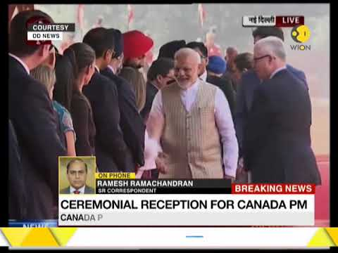 Ceremonial reception for Canada PM as PM Modi greets him at Rashtrapati Bhawan