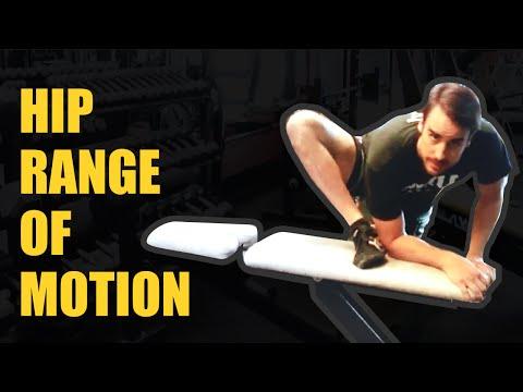 HIP RANGE OF MOTION TEST/STRETCH:  (hip flexion + external rotation)