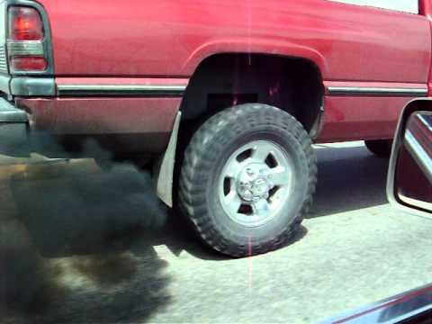 Dodge Ram 4x4 >> Exhaust shot of a 1997 Dodge Ram Cummins Turbo Diesel hitting the gas rollin coal down the road ...