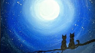 Cats on branch - Night painting -- EASY PAINTING