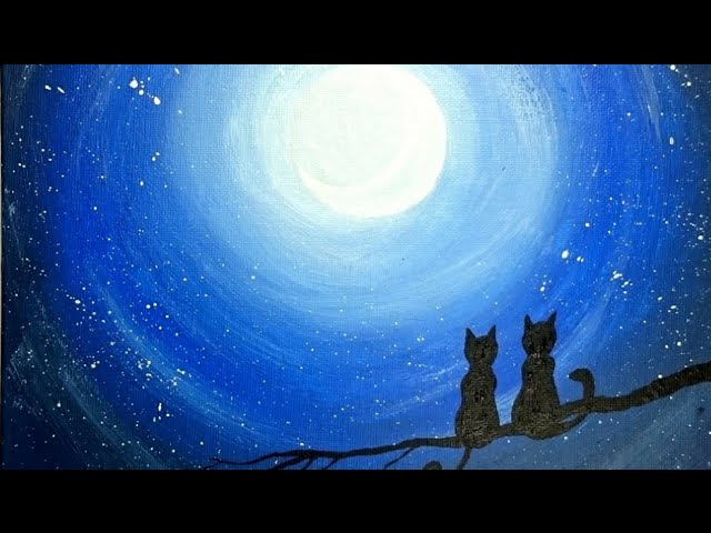 Cats On Branch Night Painting Easy Painting Youtube